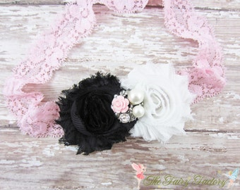 Black and Pink Flower Headband, Chiffon Flowers w/ Pearl & Rhinestone Center Lace Headband or Clip, Newborn Baby Child Girls Headband
