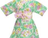 Kimono Dress in MINT FLORAL sizes girls 0 though 10 years - boutique girls dress  Japanese Asian Style Yukata