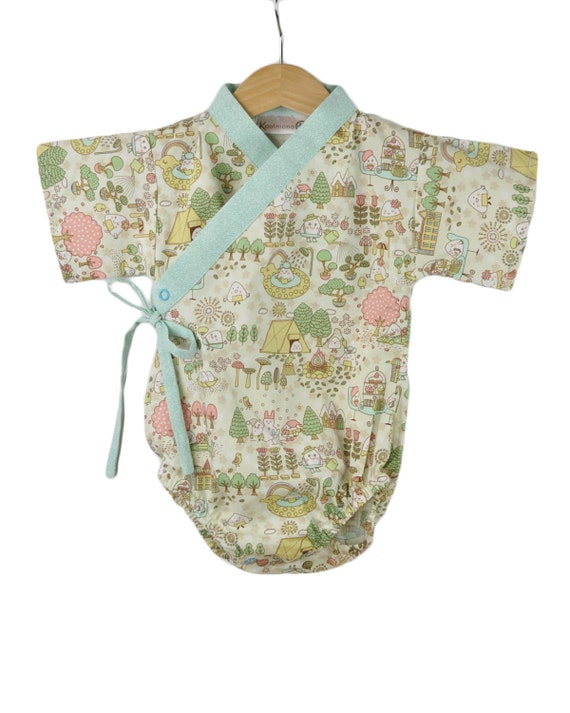 Baby Bodysuit Kimono 18 months - HAPPY CAMPERS BLUE kawaii -  for boys or girls unisex cool baby clothes
