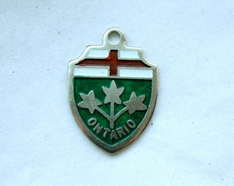 3 Vintage 1960s Enameled Silver Metal Ontario Crest Charms // Canadian Souvenir