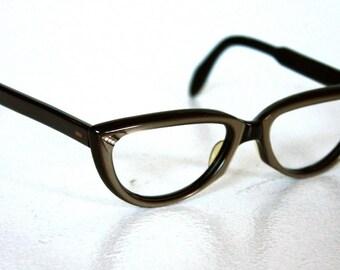 Vintage 1950's  Cat Eye Frames // 50s Vintage Frames // Pearly Grey and Rhinestone // Rockabilly