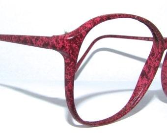 1980s Womens Eyeglasses // Marbled Coral Frames // EYEGLASSES // 80s 90s hipster // Charmant Brand JAPAN