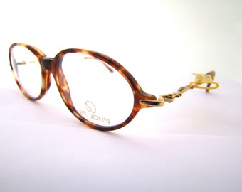 Rare Designer  Eyeglasses, Tortoise  ,by St John , made in Italy  early 90s ,NOS new old stock