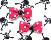 SALE - Insane Royal Cutie Skulls Dots Hair Bows - Shocking Pink - Kawaii