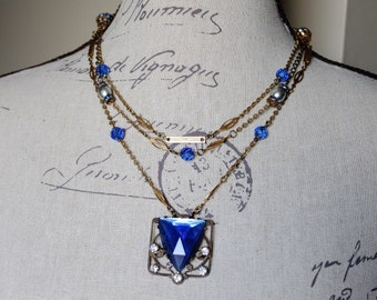 Art Deco Royal Blue & Rhinestone Buckle Necklace - MultiStrand Gold Chain - Vintage Assemblage Jewelry by Boutique Bijou