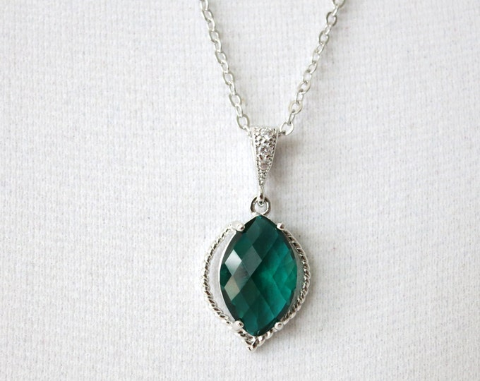 Lysette - Emerald glass drops dangle silver necklaces, Gifts for her, Colorful necklaces, green wedding bridesmaid necklace, office jewelry