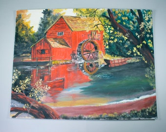 Original Acrylic or Oil Painting, Red Barn Water Wheel ,Rustic Farm Scene, Country Scene,Folk Art Painting, Unframed , 1980s