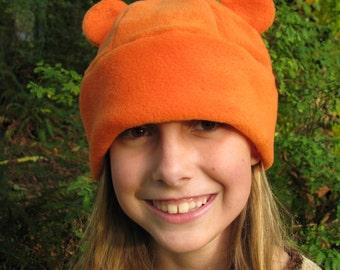 Orange Gummy Bear Ear Hat - Animal Ear Fleece Beanie Hat by Ningen Headwear