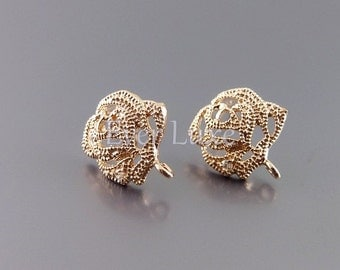 2 Enchanted rose earrings, rose gold earring components, stud earrings for jewelry making E1677-BRG (bright rose gold, earrings, 2 pieces)