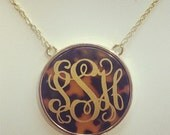 SPECIAL PRICE - Monogrammed Tortoise Split Chain Necklace