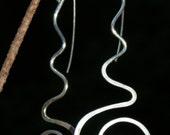 Hammered Silver Wire Spiral Swirl dangle earrings
