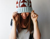 The Aztec // Chunky Knit Hat with Triangles Pattern Hat Thick Winter Womens Hat // Glacier and Spice