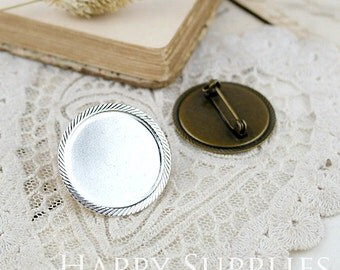 10pcs Nickel Free -High Quality Antique Bronze / Silver Plated 25mm Cabochon Pendant Base Brooch (ZX142/ZX143)