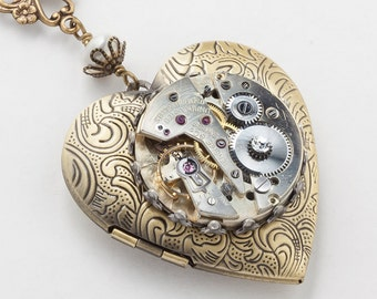 Steampunk Necklace Heart Locket Vintage silver watch movement gears gold leaf flower pearl crystal pendant Statement Steampunk jewelry