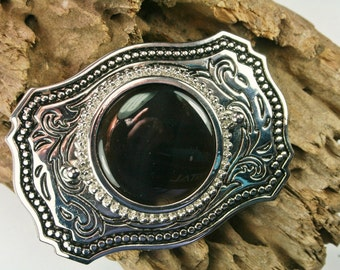 Oregon Obsidian and Silver Tone Belt Buckle