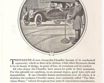 Vintage 1917 CHANDLER SIX Automobile Ad, National Geographic Magazine Original Black and White Illustration