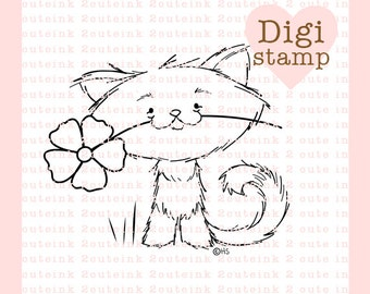 Primrose Kitty Digital Stamp Mother's Day,Card Making, Paper Crafts, Scrapbooking, Hand Embroidery, Invitations, Stickers, Cookie Decorating