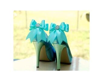 Shoe Clips Sparkly Aqua Blue / White Bow. Shiny Rhinestone Satin Ribbon. Bridal Fashionista Couture, More Teal Sage Pink Black Ivory Purple