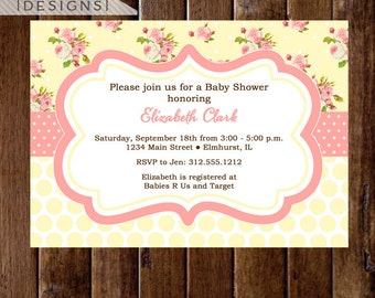 Shabby Style Yellow Background with Pink Roses Baby Shower Invite - PRINTABLE INVITATION DESIGN