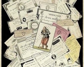 antique french lithograph revolutionary paper money digital download