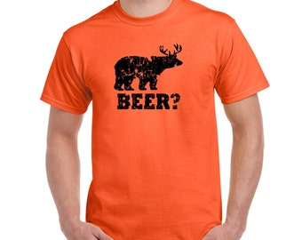 Mens Funny beer t shirt bear deer t shirt redneck hunter womens shirt birthday present shirt