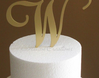 Metallic Gold Metal Monogram Cake Topper for Wedding-Any Initial or Letter