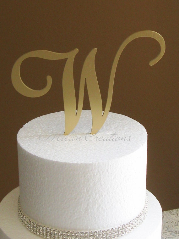 letter cake toppers metallic gold metal monogram cake topper for by milancreations 5506