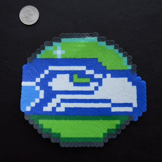 8-bit Pixel Art Seahawks Christmas Ornament