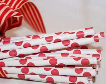 Paper Straws, 25 Red Polka Dot Paper Straws, Drinking Straw, Red Paper Straw, Christmas Party, Red Patriotic, Carnival, Pirate, Lady Bug