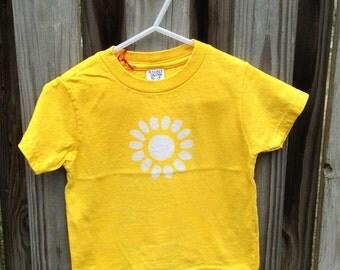Kids Flower Shirt, Girls Flower Shirt, Yellow Flower Shirt, Kids Batik Shirt, Yellow Girls Shirt, Yellow Daisy Shirt (2T) SALE