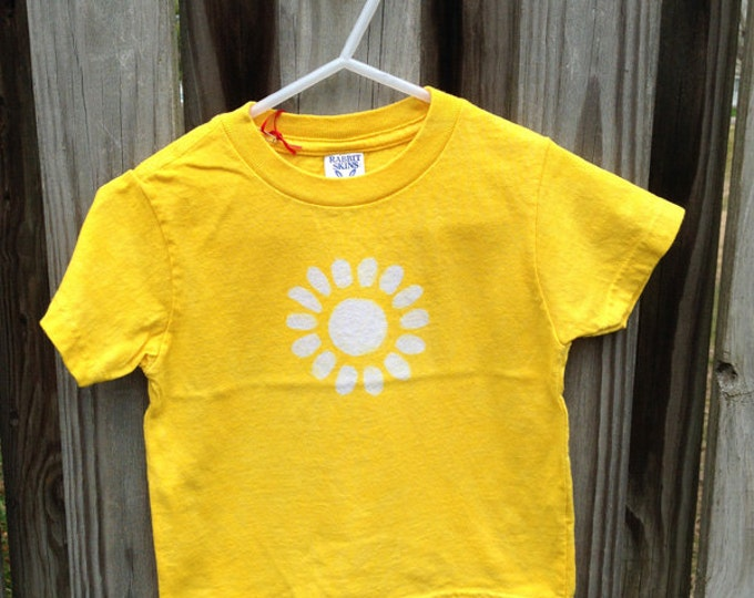 Kids Flower Shirt, Girls Flower Shirt, Yellow Flower Shirt, Kids Batik Shirt, Yellow Girls Shirt, Yellow Daisy Shirt (2T) SALE