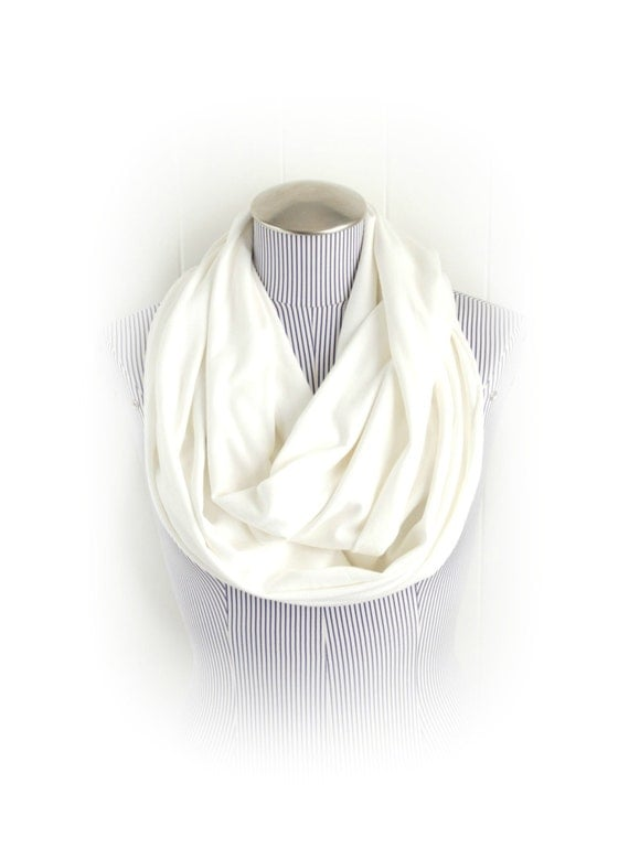 White Infinity Scarf, Off White Neutral Jersey Knit Blend Loop Scarf