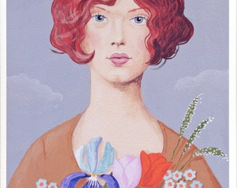 Fine art print -- Lady and Flowers