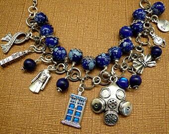 Dr Who Tardis Travel Space Dialeks Beaded Bowtie Charm Phone Booth Bracelet
