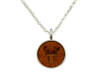 Deer Stag Wood Pendant Necklace - Silver Deerhead and Dark Wood Necklace - Gwen Delicious Jewelry Designs