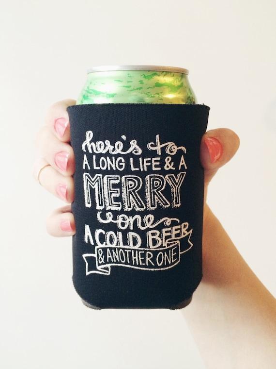 Chalkboard Print Beer Koozie Irish Toast Free Shipping