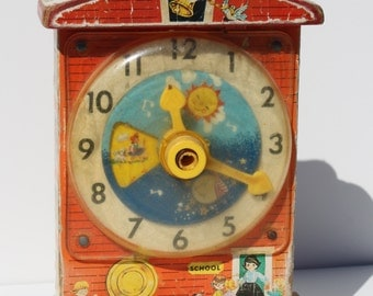 Vintage 1968 Fisher Price Wooden Music Box Teaching Clock Model 998