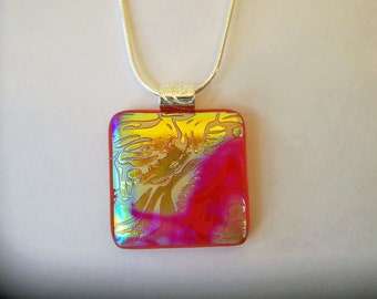 Dichroic Glass Jewelry - Fused Dichroic Pendant and Necklace - Fused Glass Jewelry - 58-14