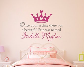 Once upon a time Wall Decal - Personalized Name Decal - Princess Crown - Large