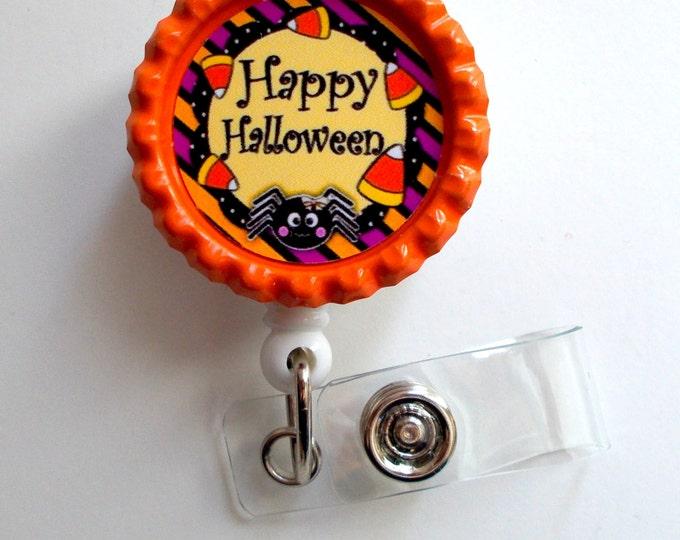 Happy Halloween - Name Badge Holder - Teacher Badge - Nursing Badge - Teacher  Badge - Nurses Badge - Halloween Badge - Designer Badge Reel