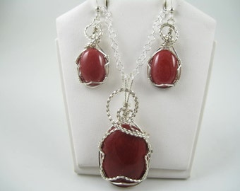 WS-1239 Mountain Jade & Sterling Silver Wire Wrapped Necklace and Earring  Jewelry Set