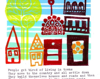 Original Linocut Print - Moving to the Country
