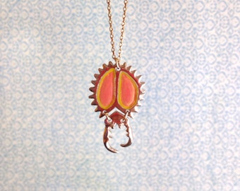 Entomology Series. Pink lemonade Pincer. Summer love bug necklace.