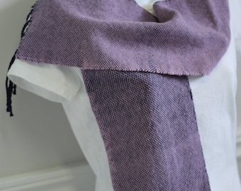 Rose and purple hand woven scarf in merino and silk with hand twisted fringe