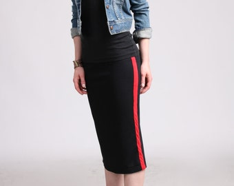 Side Stripe Pencil Skirt - Black with Red Stripe