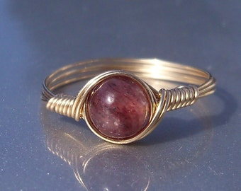 Muscovite 14k Yellow Gold Filled Wire Wrapped Stone Mineral Ring
