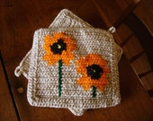 Orange Poppy  Poppies Potholders - Poppy Flower Kitchen Decor - Hot Pad - Pot Holders Trivet Set of Two - Light Brown Mothers Day Gift