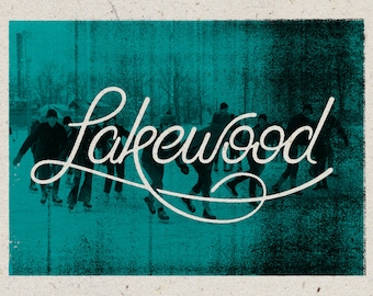 "Lakewood - Cleveland, Ohio Print - 12"" x 9"" French Speckletone Madero Beach, Vintage Inspired"