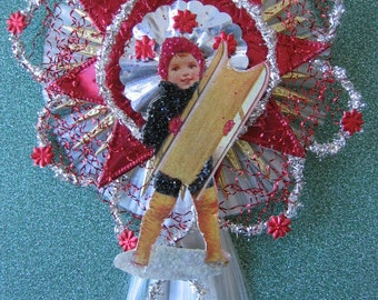 Vintage Look Boy W/Sled Christmas Ornament Victorian-Vintage 1908 Postcard,German Tinsel,German Dresdens,Spun Glass