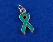 Teal Ovarian Cancer Awareness Ribbon Charm - Silver Teal Ribbon Charm for Necklace or Bracelet